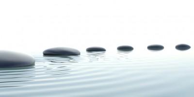 Zen path of stones in widescreen